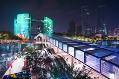 Night Lights (Andy Brandl (PhotonMix.com)) Tags: china urban lines electric architecture night nikon hangzhou leds citylibrary illuminatedarchitecture photonmix
