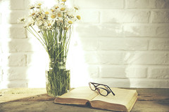 Chamomile and book (sevakaramyan) Tags: wood old light summer white flower green love nature floral beautiful beauty yellow rural vintage paper table reading glasses book wooden ancient education poetry day open natural library text country rustic decoration nobody literature fresh retro cover bunch bloom romantic novel bouquet idleness bookmark chamomile camomile
