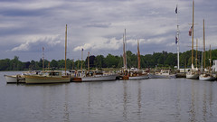 Readying For The Show (joegeraci364) Tags: new travel summer vacation england sky cloud seascape color art beach water weather museum vintage season relax landscape fun outdoors coast boat ship connecticut small scenic craft shore boating sail destination leisure serene nautical tallship schooner trap mystic seaport