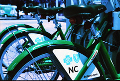 Bikes for Hire (hpaton1) Tags: film analog purple charlotte canonef2470mmf28l canoneos1v lomochrome