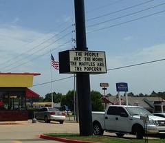 Waffle House, Texarkana TX (Deep Fried Kudzu) Tags: house sign hilarious texas waffle texarkana