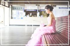YNL_0183 () Tags: pink sitting trainstation weddingdress