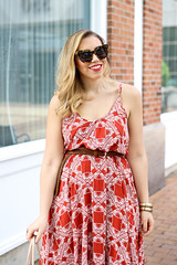 Lulu's Pondering Petals Rust Red Print Midi Dress | Casual Summer Outfit | Style on Living After Midnite by Jackie Giardina (jackiegiardina) Tags: summer fashion outfit pattern dress sandals style blonde casual printed lulus cateye livingaftermidnight livingaftermidnite jackiegiardina