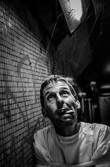 Asylum Moth (sophie_merlo) Tags: asylum dark mad lunatic male man malemodel madness tunnel lightandshade light graffiti bw blackandwhite mono monochrome