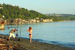 The photoshoot (SharmaPunit) Tags: seattle boy sunset sea water girl beauty seaside model photographer photoshoot cameraman nikondslr nikon7100