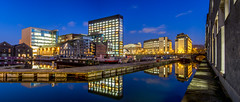 Grand Canal Basin (picturesbyJOE) Tags: city ireland skyline architecture reflections evening twilight europe waterfront canals docklands grandcanal countydublin dublincity dublin2 stitchedpanorama grandcanaldock grandcanalquay