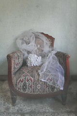 The Chair (Nourhan Refaat) Tags: life old flowers white silly home vintage bride chair nikon veil serious furniture memories things concept bridal conceptual joyful simple nikond5000