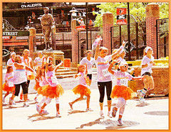 Baltimore MD ~ The Color Run - HSS! (karma (Karen)) Tags: light signs shadows stadiums bricks fences statues maryland baltimore shadowplay camdenyards hss cmwdorange sliderssunday ipiccy colorrun fieryimage