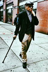 Dapper (cyndisuewho) Tags: nyc man hat cane harlem streetphotography walkingstick stroll stylish iphone5 iphoneography uploaded:by=flickrmobile flickriosapp:filter=toucan toucanfilter