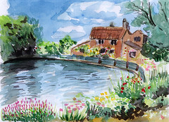watercolor river bank house (dansemuou) Tags: flowers autumn trees summer house building tree art english water grass illustration fairytale rural river garden painting landscape pond colorful quiet village hand drawing background traditional country picture bank canvas manor halftimbered