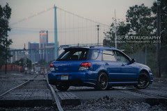 D (JSFauxtaugraphy) Tags: blue sunset summer hot 2004 wagon dusk rear wheels detroit springs subaru tight wrx epic lowered jdm spats