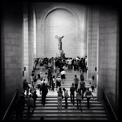 Modern Worship of The Winged Victory of Samothrace (anthonyfoster1973) Tags: blackandwhite bw paris louvre iphone musedulouvre mobilephotography iphone5 johnslens iphoneography hipstamatic blackeyssupergrainfilm snapseed