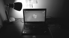 B/W Desktop (imkiwiyournot) Tags: desktop bw white ny black college st electric photoshop mouse university i5 laptop samsung philips queens galaxy thinkpad toothbrush johns core s4 lenovo sidewinder x8 ponwh