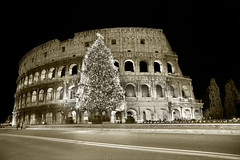 Classic icon (Rome sweet home) Tags: christmas street tree sepia night gold strada colosseum coliseo di albero natale notte hdr oro colosseo viraggio vuota seppia hdrpro