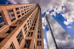 Kissing September Blue (c. Melon Images) Tags: street city blue sky reflection fall lines architecture clouds canon geometry shapes structure symmetry september tokina philly hdr 2013