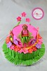 LUAU CAKE (The Cupcake Factory Barbados) Tags: pink flowers girl cake surf head board hula flip luau flops tiki fondant