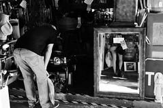 Untitled (ajkpix) Tags: california street urban blackandwhite bw woman man reflection mirror blackwhite losangeles sale blackwhitephotos scattidistrada