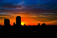 Minneapolis Morning (Doug Wallick) Tags: morning color minnesota silhouette skyline sunrise downtown minneapolis lightroom a55