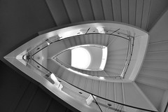 DSCF5474 (Drew Z) Tags: blackandwhite bw wisconsin architecture stairs fuji center stairway explore madison staircase rotunda wi fujinon overture x10