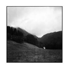 fog • oberammergau, germany • 2013 (lem's) Tags: white house mountain fog rolleiflex forest montagne germany blanche maison allemagne foret brouillard oberammergau planar