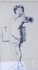 Eugenio Prati Figura di giovane in costume rinascimentale acquerello 28 x 18 cm Collezione privata