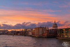 St Paul's Cathedral (Umbreen Hafeez) Tags: uk bridge light sunset england building st thames architecture clouds buildings river europe cathedral pauls millennium gb chuch bankside