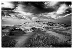 Holkham Beach (Steve Docwra (Norfolk based photographer)) Tags: bw beach clouds landscape photography mono photographer dunes norfolk wells coastal purchase eastanglia wellsnextthesea holkham fineartprint printsforsale holidaydestination imagestobuy vision:mountain=0589 vision:clouds=0893 vision:sky=0896 vision:outdoor=0576 stevedocwralandscape