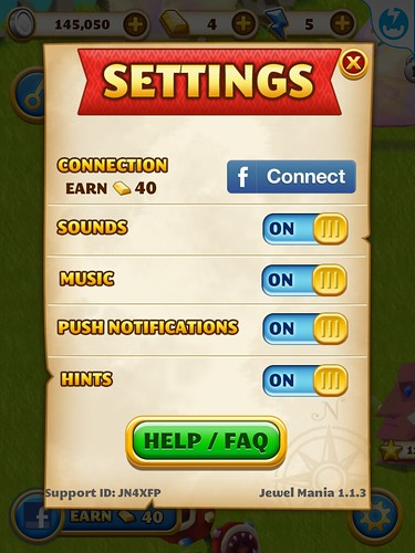 Jewel Mania Settings: screenshots, UI