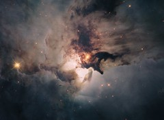 lagoon gas nebula m8 dust hubble hst hla ionized