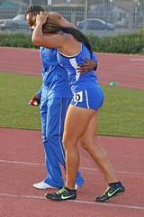D104516A (RobHelfman) Tags: sports losangeles track injury highschool hawkins trackmeet crenshaw kaylawilliams leaguerelays briannawalker