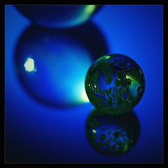 arty marble (Neil Tackaberry) Tags: blue reflection texture glass mirror arty sphere refraction marble specular optics