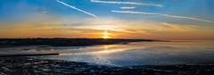 Setting sun over Westgate-on-Sea (James Waghorn) Tags: winter sunset sea panorama beach water clouds reflections kent nikon rocks peace contrails groyne lightroom westgateonsea cs6 d7100 tamronsp70300f456vcusd