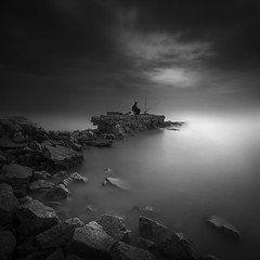 ...Everything comes to you in the right moment. Be patient... (farizun amrod) Tags: longexposure people art beach monochrome fishing fisherman rocks village fineart patient human malaysia jeram remis