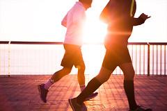 Runners. (arturii!) Tags: barcelona morning people beach beauty sport sunrise fence outdoors early cool nice couple europe mediterranean view bcn shoreline catalonia barceloneta runners catalunya activity sunbeam sunligh canoneos6d