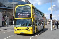 NCT Scania N230UD 906 YT61GOJ - Nottingham (dwb transport photos) Tags: nottingham bus scania nct yellowline decker 906 nottinghamcitytransport omnidekka yt61goj
