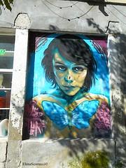 street art Veliko Tarnovo (Elena Scortecci) Tags: street urban woman streetart art butterfly graffiti donna strada arte bulgaria urbano farfalla tarnovo velikotarnovo veliko