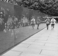Touched By The Korean Conflict (Catskills Photography) Tags: people blackandwhite wall reflections memorial streetphotography koreanwarmemorial odc peoplepowered streetcandid canong15
