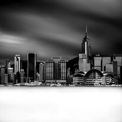 Hong Kong Island (EXPLORE 01.06.2016) (Fern Blacker) Tags: longexposure travel sky blackandwhite water clouds asia calm tsimshatsui finest hongkongisland honking