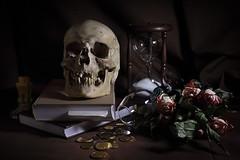 Vanitas Still Life (fksr) Tags: roses stilllife money dark skull candle books mementomori hourglass vanitas goldcoins wiltedflowers