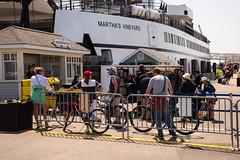 The Ferry (votsek) Tags: ocean ferry fence us dock unitedstates massachusetts bicycles wharf marthasvineyard woodshole falmouth touring 2016