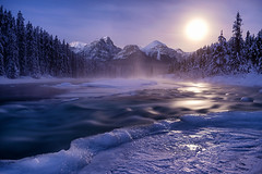 An Ode to Adamus | Canadian Rockies (v on life) Tags: longexposure trees winter mist snow canada ice night frozen alberta peaks moonset bowriver canadianrockies morantscurve