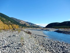 Stony Banks of Alpine River (mikecogh) Tags: nature river countryside stones hills raglan slopes