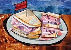 Deli Sandwich (Megan Coyle) Tags: stilllife food art collage illustration paperart yum sandwich delicious collageart deli foodart cutandpaste papercollage delisandwich collageartist magazinecollage foodcollage megancoyle coylecollage stilllifecollage paintingwithpaper