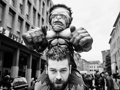 . (alb.montagna) Tags: street portrait people blackandwhite bw italy monochrome child mask cosplay streetphotography streetportrait persone ferrara hulk zuiko olympusomdem10mkii