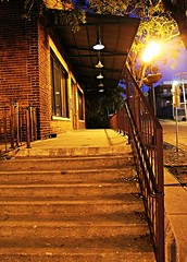 Stairs to an old warehouse (Laurence's Pictures) Tags: blue sunset urban news building tower rock river golden illinois downtown solstice hour rockford
