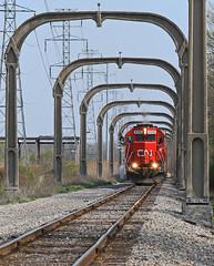 Creeping on a signal (GLC 392) Tags: road park railroad mi cn train allen michigan detroit railway grand arches canadian toledo national western trunk 102 elgin oakwood eastern oj joliet goddard dearborn gtw eje dti 656 emd gp382 ironton 4916 sd382 sd383