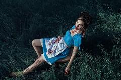 BLOODY ALICE series (DeboraDiDonato) Tags: park blue woman detail art nature colors canon project dark blood model noir creative dirty creepy fantasy horror concept bloody conceptual concettuale
