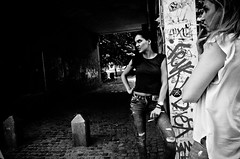 Mean Girls (stimpsonjake) Tags: city girls blackandwhite bw monochrome candid streetphotography romania cigarettes bucharest meangirls 185mm nikoncoolpixa
