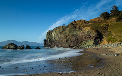 Lands End beach (BiGYaN, ) Tags: ocean blue sea beach water rock sand rocks pacific pacificocean landsend