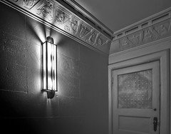 Manchester Unity Building [Explored] (phunnyfotos) Tags: phunnyfotos australia vic victoria melbourne mono bw monotone door light lightfitting lighting deco artdeco 1932 manchesterunity building architecture interior inside indoor wall walllight pattern style design marcusbarlow nikon d750 nikond750 plaster
